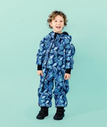 Waterproof Softshell Overall Comfy Blue Leaves Jumpsuit