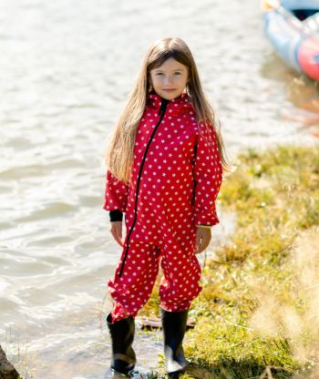 Waterproof Softshell Overall Comfy Stars Red Jumpsuit
