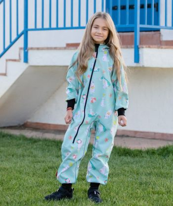 Waterproof Softshell Overall Comfy Playful Cats Jumpsuit