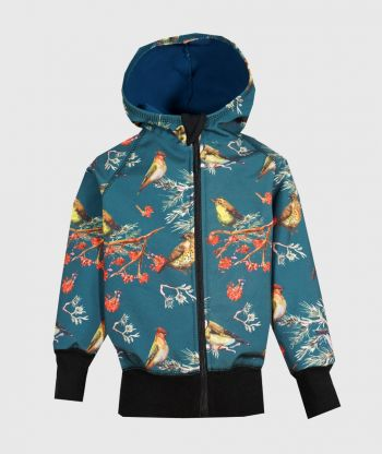 Waterproof Softshell Hoodie Dark Cyan Birds